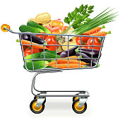 Vector Supermarket Trolley with Vegetables isolated on white background