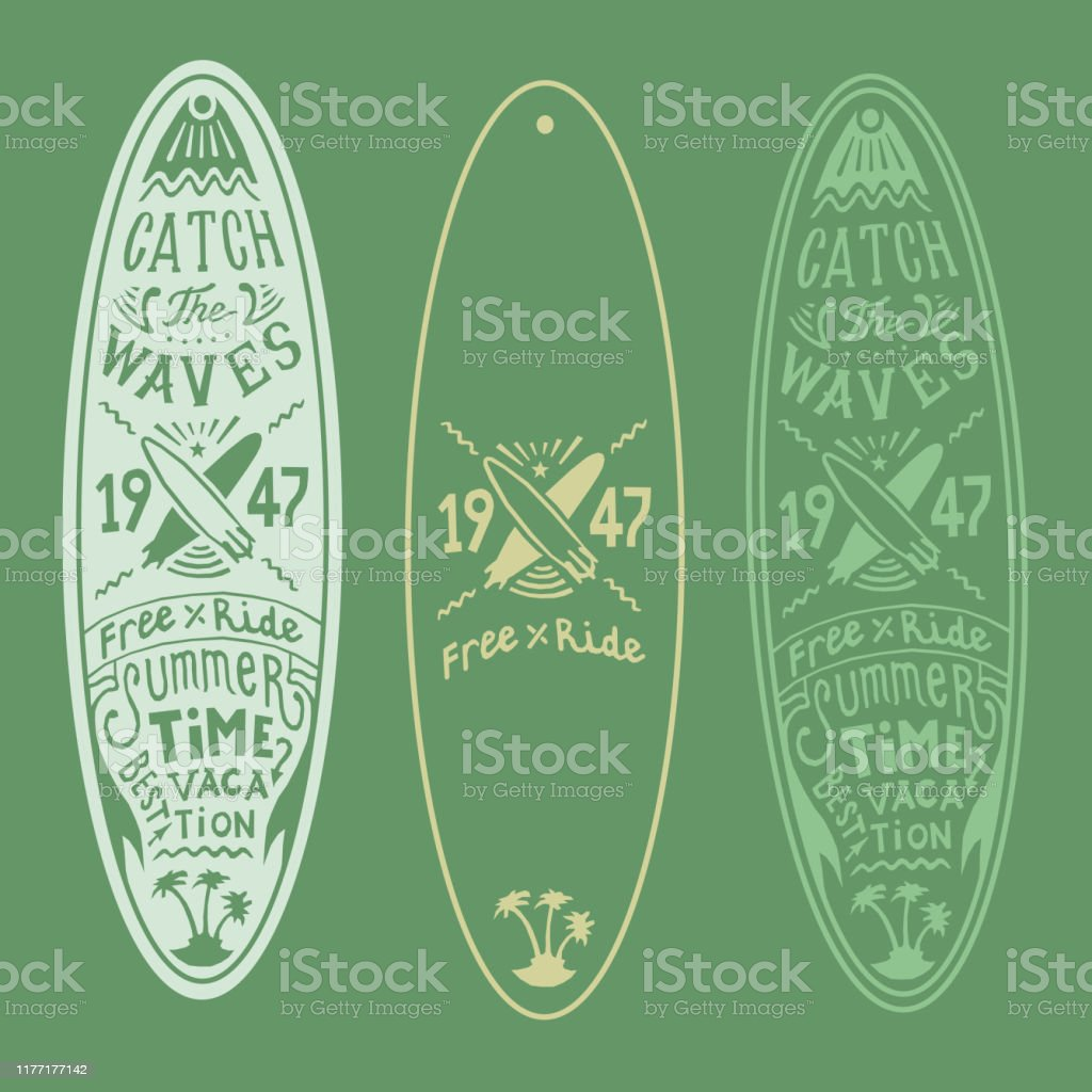 Dessin De Main De Logo De Logo De Lettre De Panneau De Planche De Surf De Vecteur Vert Et Jaune De Couleur Dimpression Vecteurs Libres De Droits Et Plus D Images Vectorielles De