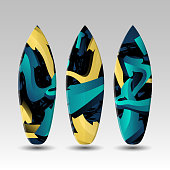 Vector Surfboards Design Template with Abstract Graffiti Pattern