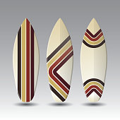 Vector Surfboards Design Template with Abstract Pattern