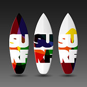 Vector Surfboards Design Template with Abstract 'SURF' Label