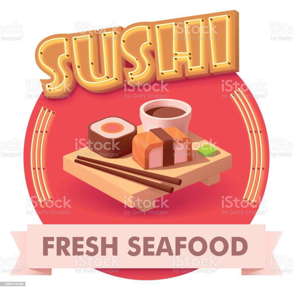 Vector sushi illustration or label for menu