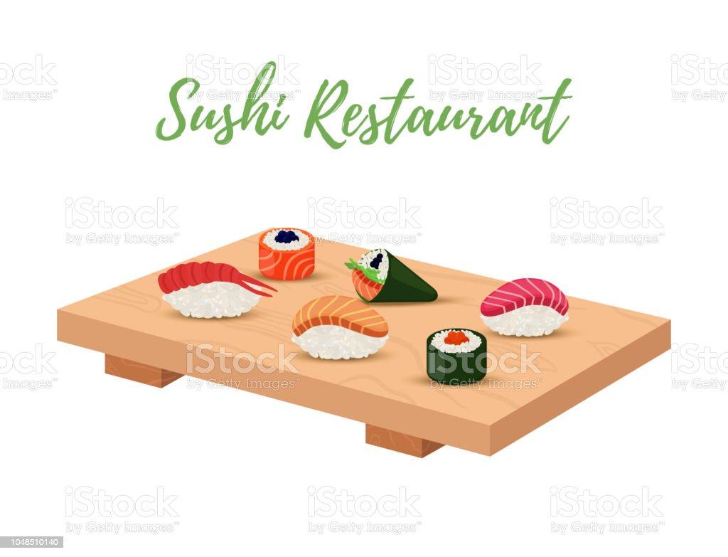 Sushi de vector en bandeja de madera para restaurante japonés - ilustración de arte vectorial