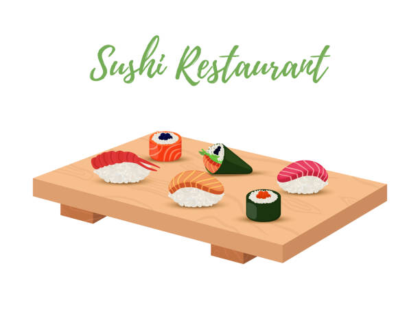 vector sushi set on wooden tray for japanese restaurant - sushi stock illustrations