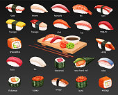 Vector sushi icons set. Japanese food illustration for seafood sushi rolls shop design.