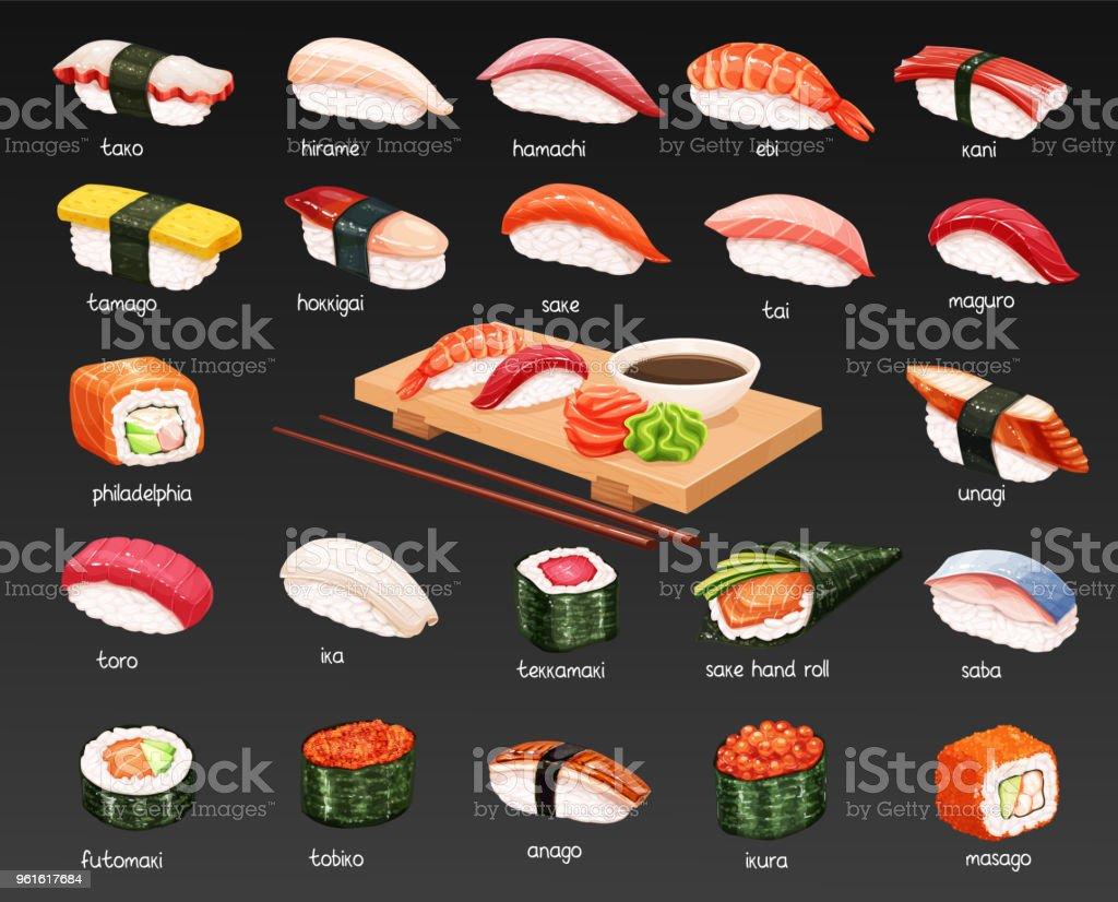 Vector conjunto de sushi. - ilustración de arte vectorial