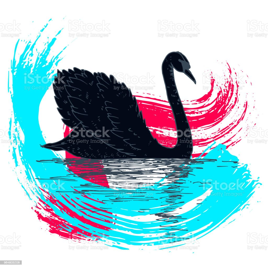 Vector swan illustration with reflection and abstract watercolor paint splash. Swimming elegant swan bird, beautiful wild nature sketch. Royal swan ink outline illustration, hand drawn animal. royalty-free vector swan illustration with reflection and abstract watercolor paint splash swimming elegant swan bird beautiful wild nature sketch royal swan ink outline illustration hand drawn animal stock illustration - download image now