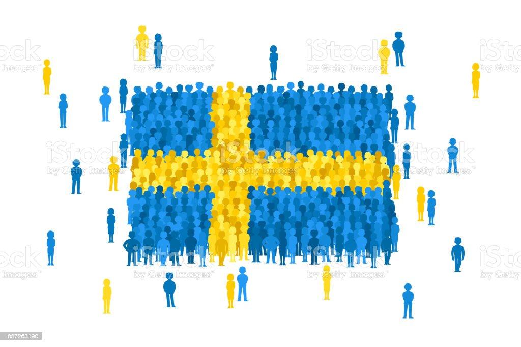 Vektor Schweden Staatsflagge von Cartoon Menschenmenge gebildet – Vektorgrafik
