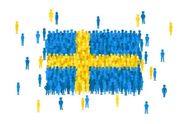 bildbanksillustrationer, clip art samt tecknat material och ikoner med vector sverige statsflagga bildas av folksamling tecknad - sweden