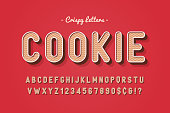 Vector sweet cookie font design, alphabet, typeface, letters and numbers, typography