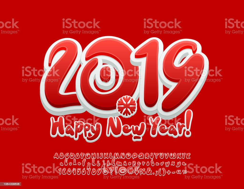 vector sweet happy new year 2019 greeting card with alphabet royalty free vector sweet happy