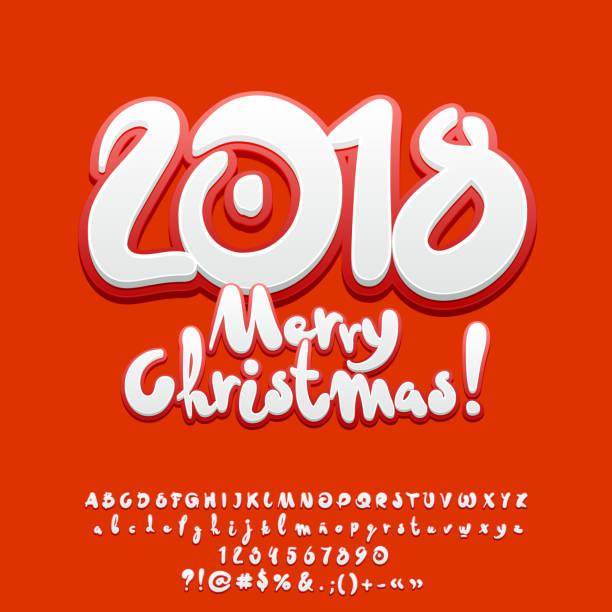 ilustraciones, imágenes clip art, dibujos animados e iconos de stock de set dulce vector tarjeta de felicitación feliz navidad 2018 con el alfabeto - tipos de letra y tipografía