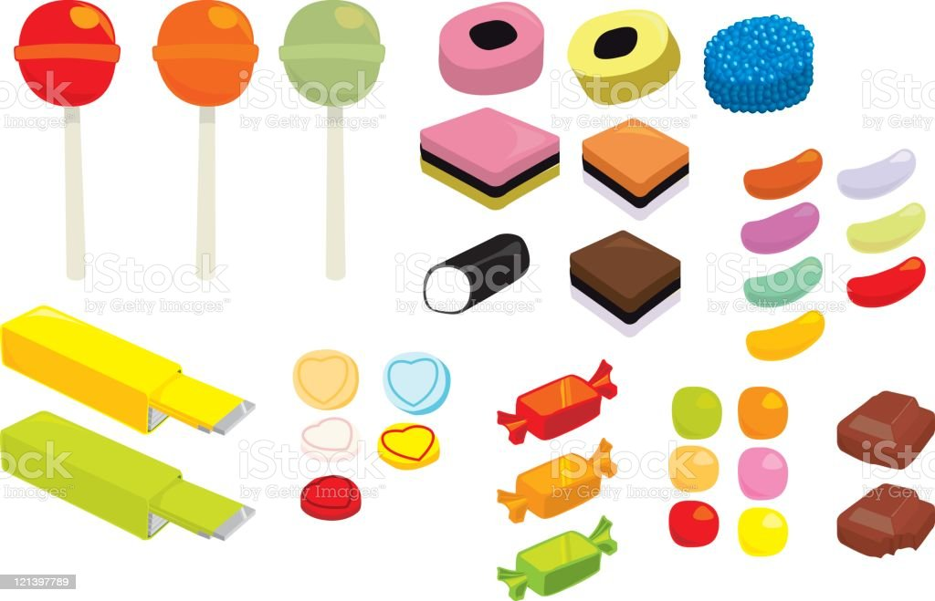 Vektor-Süßigkeiten und Bonbons – Vektorgrafik