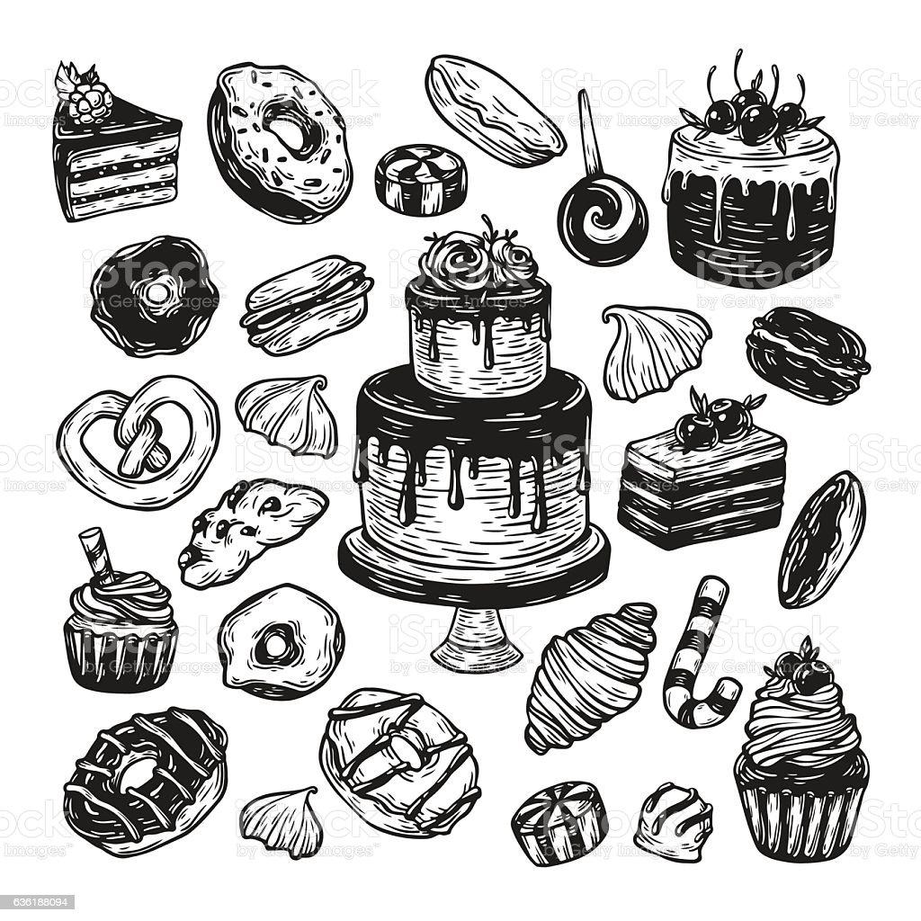 Vector Sweets. vector art illustration