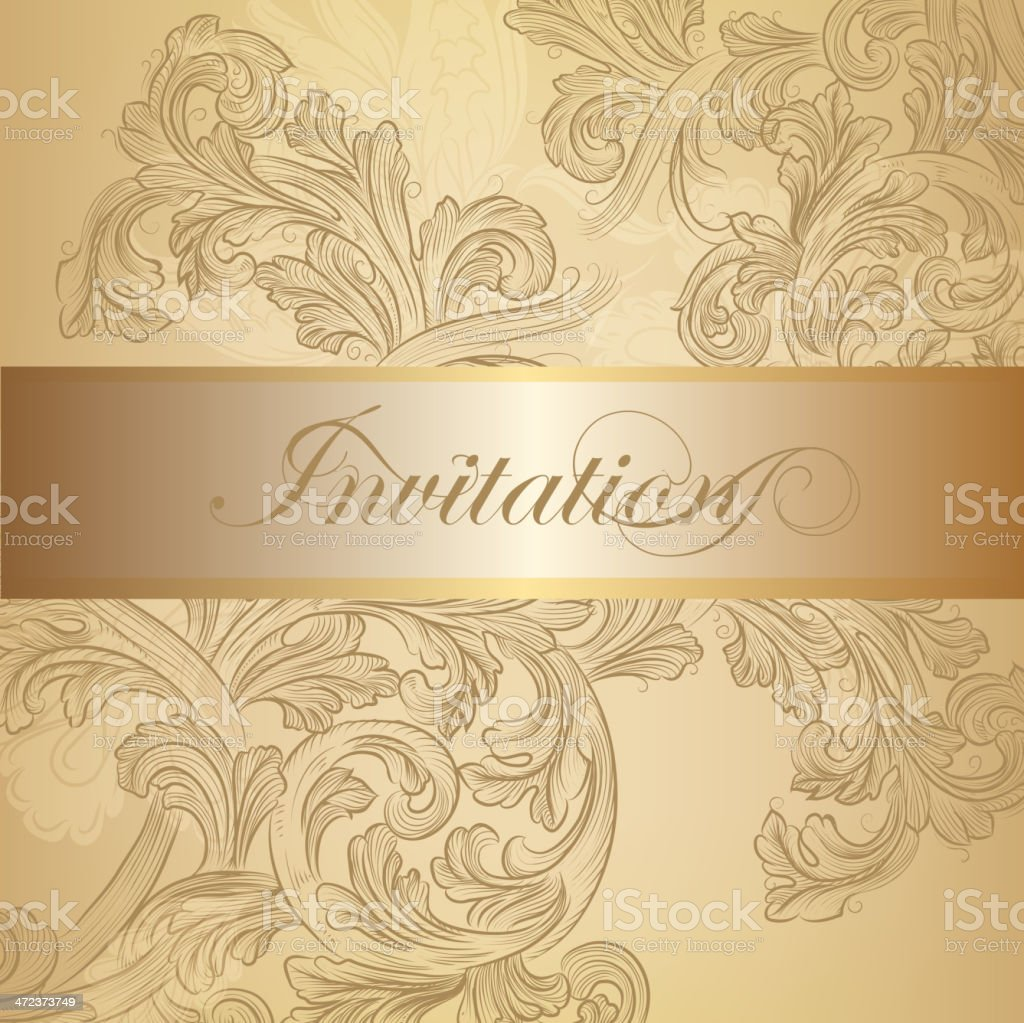Vector swirl invitation card in golden color stock vector art more vector swirl invitation card in golden color royalty free vector swirl invitation card in golden stopboris Images