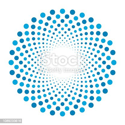 Vector swirl pattern with dotted circular background