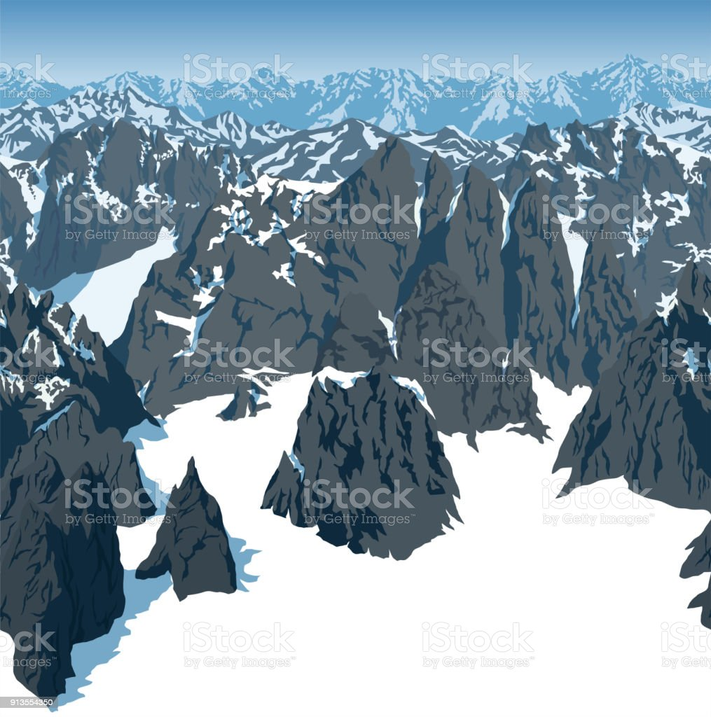 vector swiss alps mountains background texture seamless pattern vector art illustration