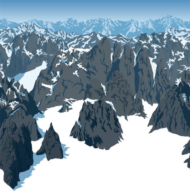 illustrazioni stock, clip art, cartoni animati e icone di tendenza di vector swiss alps mountains background texture seamless pattern - monte bianco