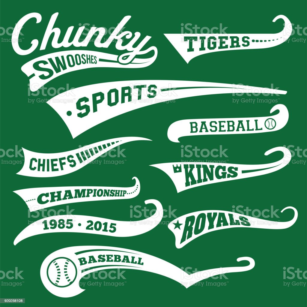 Vector Swooshes, Swishes, Whooshes, and Swashes for Typography on Retro or Vintage Baseball Tail Tee shirt vector art illustration
