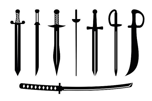 벡터 검 앤시언트 무기 디자인식 - sword stock illustrations