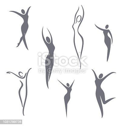 Vector symbol design elements. Young girl set