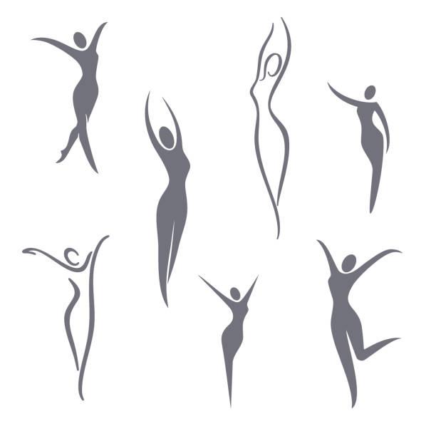 illustrazioni stock, clip art, cartoni animati e icone di tendenza di elementi di progettazione dei simboli vettoriali. set ragazza - il corpo umano