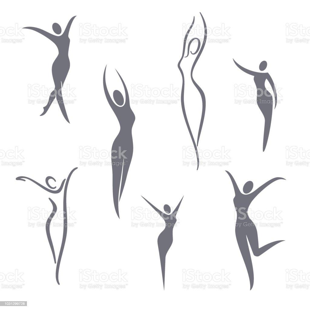 Vector symbol design elements. Young girl set vector art illustration