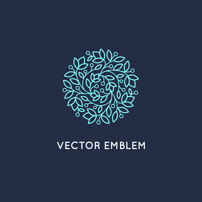 Vector symbol design template and emblem made with leaves and flowers