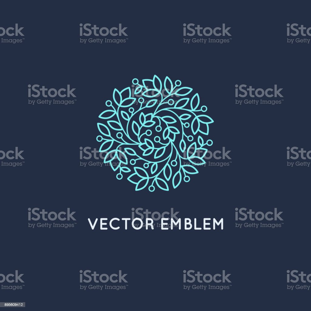 Vector symbol design template and emblem made with leaves and flowers vector art illustration