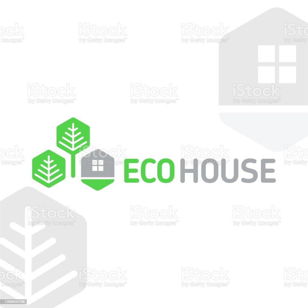 Vector símbolo eco casa elementos modulares panales descansan árboles naturaleza 8 - ilustración de arte vectorial