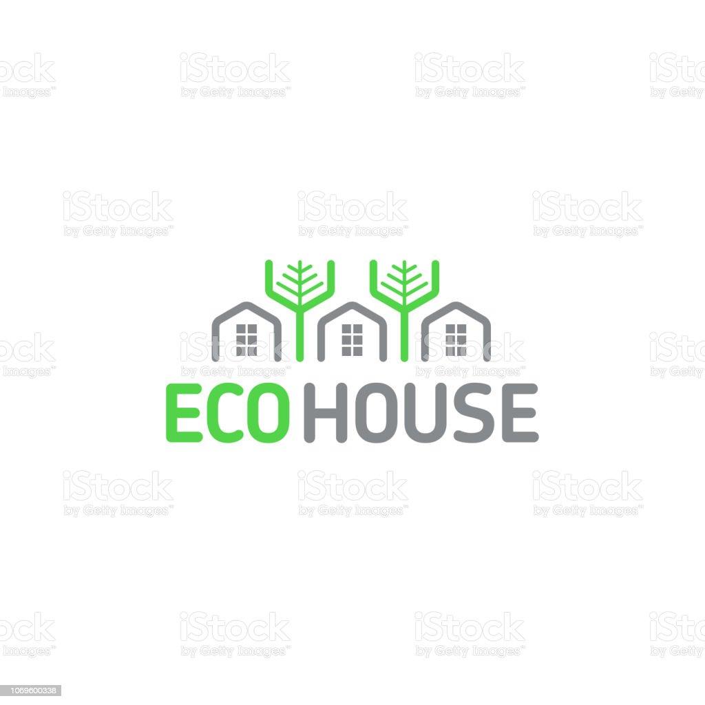 Vector símbolo eco casa elementos modulares panales descansan árboles del bosque natural - ilustración de arte vectorial