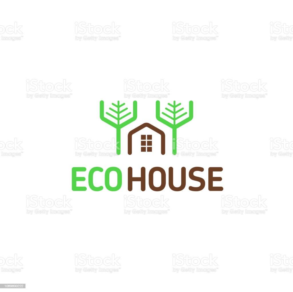 Vector símbolo eco casa modular ocio naturaleza Bosque árboles casas patrón - ilustración de arte vectorial