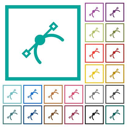 Vector symbol flat color icons with quadrant frames