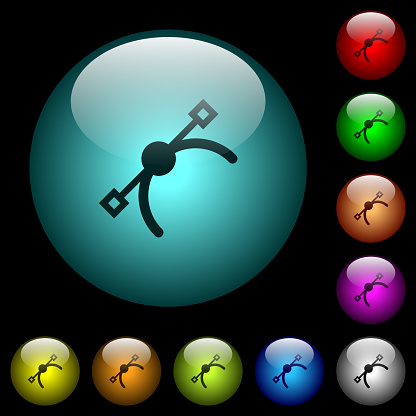 Vector symbol icons in color illuminated glass buttons
