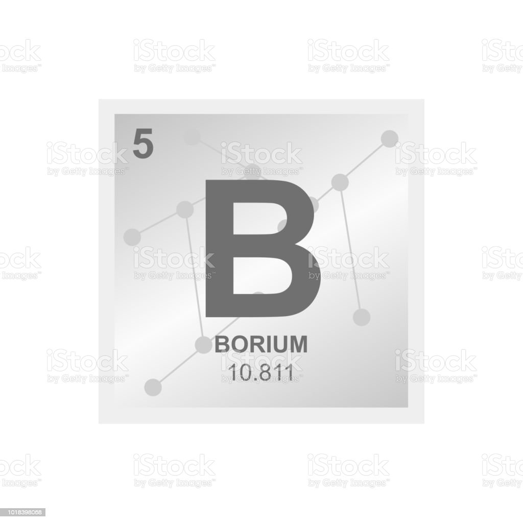Vector Symbol Of Boron On The Background From Connected Molecules
