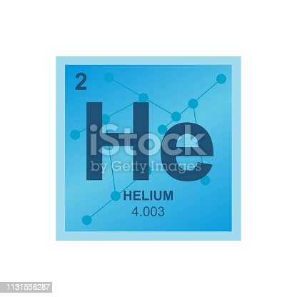 Vector symbol of helium from the periodic table of the elements on the background from connected molecules. Symbol is isolated on white background.