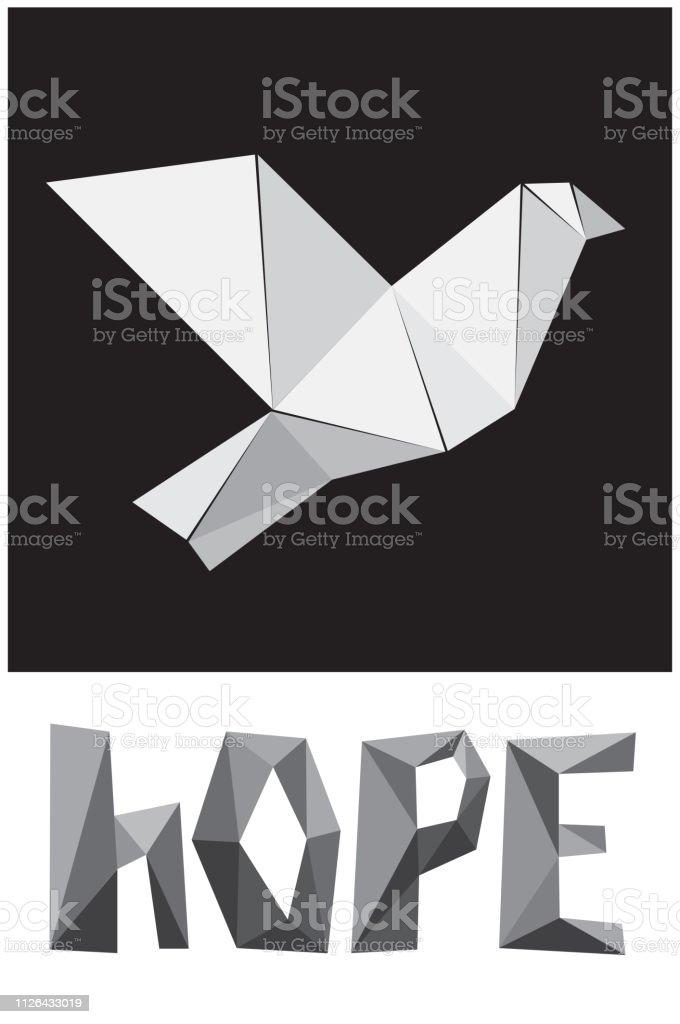 Betere Vector Symbool Van Hoop Met Duif Pictogram En Word In Origami VT-95