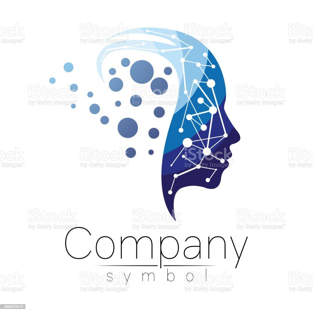 Vector símbolo de la cabeza humana. Cara de perfil. Color azul aislado sobre fondo blanco. Signo de concepto de negocio, ciencia, psicología, medicina. Signo creativo diseño de silueta de hombre. Icono moderno. - ilustración de arte vectorial