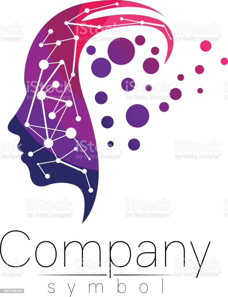 Vector symbol of human head. Profile face. Violet pink color isolated on white background. Concept sign for business, science, psychology, medicine. vector art illustration