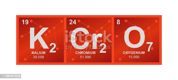 Chemical vector orange illustration of potassium dichromate is isolated on a white background.