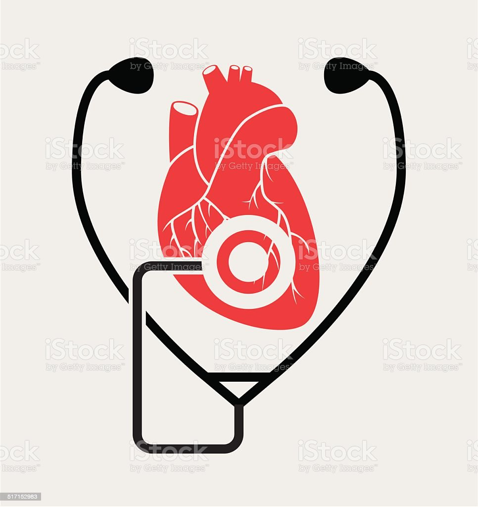 Vector Symbol Of Medical Check Of Heart Health Stock Vector Art