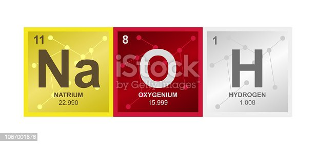 Vector symbol of NaOH Sodium hydroxide or lye molecule consisting of sodium, oxygen and hydrogen on the background from connected molecules. Illustration is isolated on a white background.