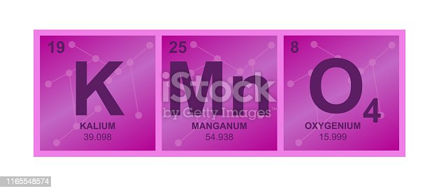 Vector symbol of potassium permanganate KMnO4 compound consisting  of potassium, manganese and oxygen atoms and molecules on the background from connected molecules. Illustration is isolated on a white background.