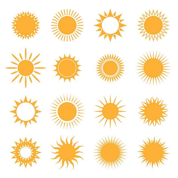 vector symbol of sun - sunrise stock illustrations, clip art, cartoons, & icons