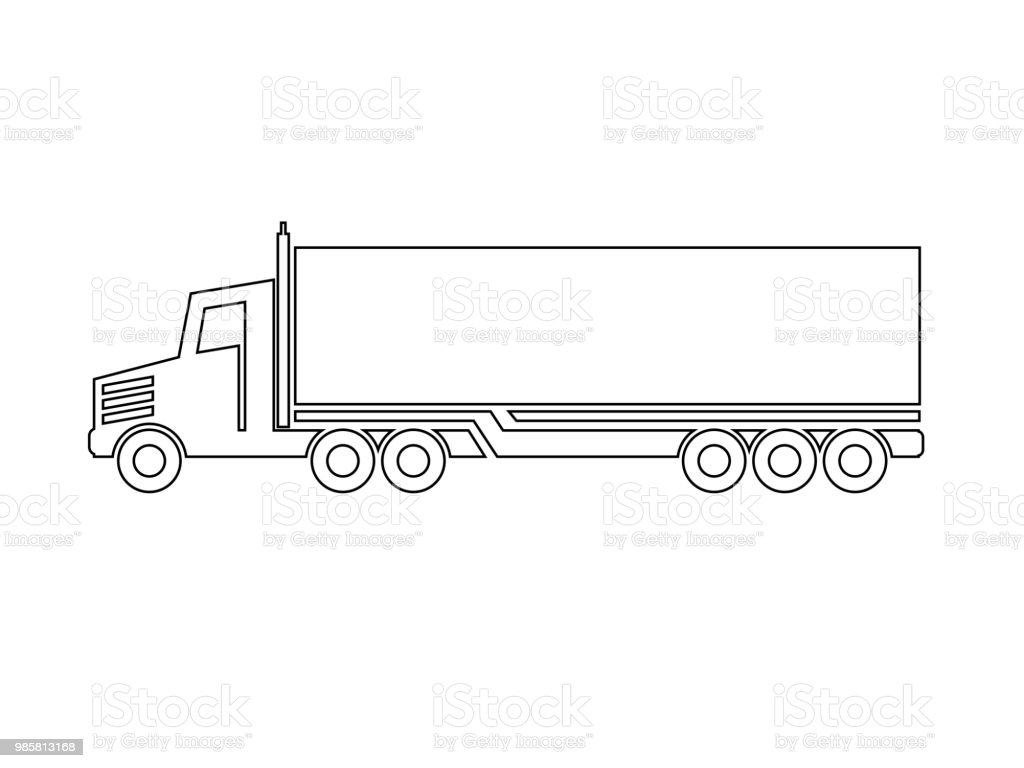 Vector Symbol Of Transport Icon Shipping Of Box Silhouette Of Truck