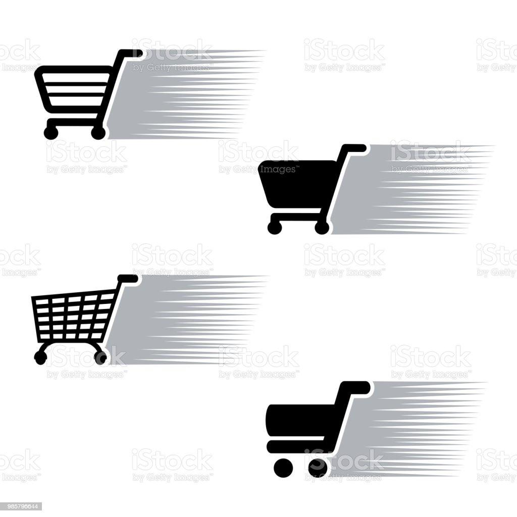 07d60c559b7 Vector symbool snelle aankoop, silhouet van het winkelwagentje. Eenvoudig  winkelen winkelwagen, toevoegen aan