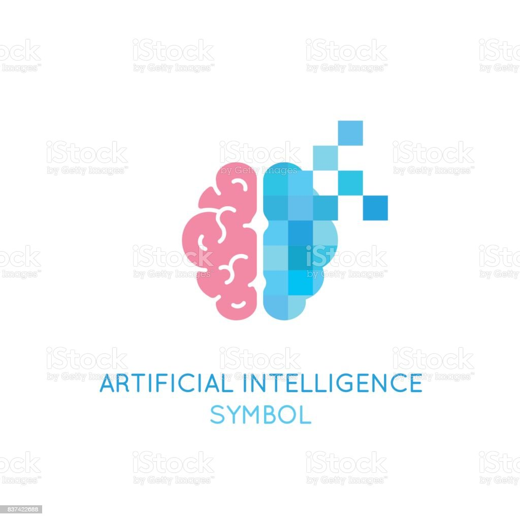 Vector symbol related to artificial intelligence, machine learning, digital brain and thinking process. Artificial intelligence logo vector art illustration