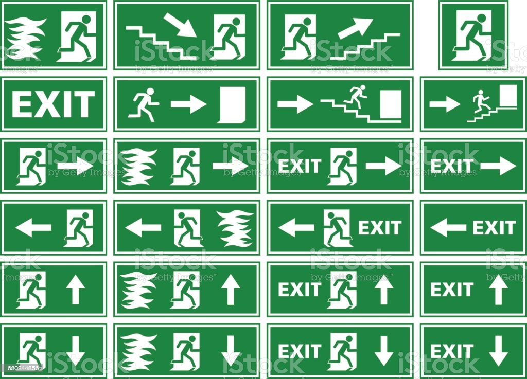 Vector Symbol Set Emergency Exit Sign Fire Alarm Plate Stock Vector