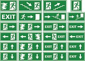 vector symbol set - emergency exit sign / fire alarm plate