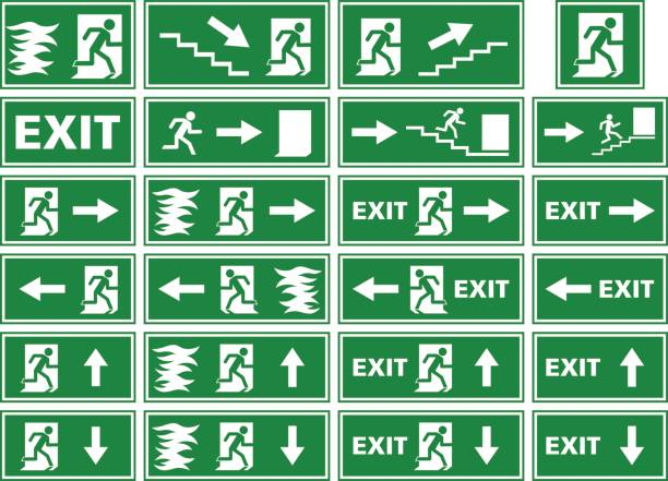 """vector symbol set - emergency exit sign / fire alarm plate A collection of different variations of emergency exit signs / plates showing white silhouettes on green background. Various illustrations of a person or man running toward an exit door of a building to escape and find rescue, in some fleeing from a fire or flames. Some of the signs contain an arrow, stairs or the word """"exit"""". exodus stock illustrations"""